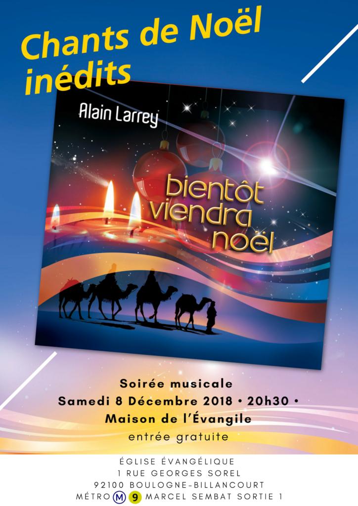Affiche Soirée musicale Alain Larrey 08/12/2018